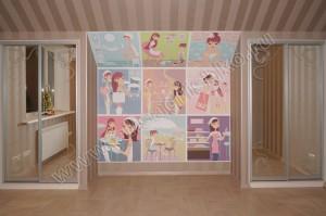 Шкафы-купе и фотообои в зоне кровати в детской